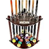 Cue Rack Only - 8 Pool Billiard Stick & Ball Floor Stand with Scorer Choose Mahogany, Dark Oak or Black Finish (Mahogany)