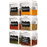 Shazo Airtight 6 Pc Mini Container Set + 6 Spoons, Labels & Marker - Durable Clear Plastic Food Storage Containers with Lids
