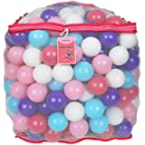 Click N' Play Plastic Ball Phthalate Free Bpa Free Crush Proof Pit Balls 5 Pretty Feminine Colors in Reusable Mesh Storage Ba