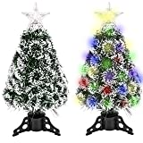 GEX 2020 Christmas Tree 2ft Pre-Lit with 60 Lights Multi-Color for Family Decorations Artificial White Edge Pine Tree Like Sn