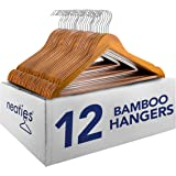 Neaties Natural and Safe Bamboo Wood Hangers Cherry Finish, 12pk