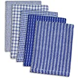 DII 100% Cotton, Ultra Absorbent, Everyday Kitchen Basic, Fun and Cute Color Dish Cloth 12 x 12, Combo Gift Set of 5- Blue