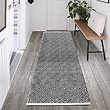 HEBE Extra Long Cotton Area Rug Runner 2'x6' Reversible Hand Woven Cotton Throw Rug Floor Mat Carpet Runner for Kitchen Bedro