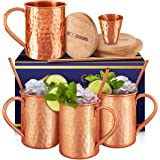 [Gift Set] Moscow Mule Mugs Set Of 4 16 oz. Solid Genuine 100% Pure Copper Cups Cylindrical Shape :HANDCRAFTED in India,BONUS