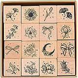 MissOrange『木製ゴム印セット』月 花 葉 ちょう結び クリエイティブスタンプセット クラフトカード スクラップブッキング 手帳用 16個セットM-26 (2-Bowknot Flower)