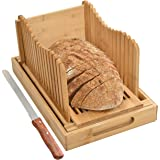 BambooSong Bamboo Bread Slicer with Crumb Tray Bamboo Bread Cutter for Homemade Bread, Loaf Cakes, Bagels Slicer, 3 Slice Siz