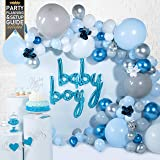 Baby Shower Decorations for Boy - (129 Piece Premium Balloon Garland Kit & Arch Strip) - Blue Balloons for First Birthday wit