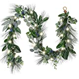 Valery Madelyn Pre-Lit 6 Feet Natural Fresh Christmas Garland with Blueberries, Artificial Fall Garland with Eucalyptus Leave