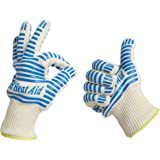Heat Resistant Gloves, 932°F EN407 Certified. Thick but Light-Weight, Flexible for Oven and BBQ, 2 Blue Gloves, One Size