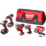 Milwaukee 2695-24 M18 18V Cordless Power Tool Combo Kit with Hammer Drill, Impact Driver, Reciprocating Saw, and Work Light (