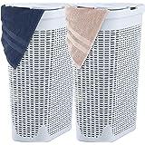Superio Slim Laundry Hamper White 40 Liter (2 Pack) Durable Plastic Hamper Basket with Lid, White Washing Bin 1.15 Bushel Bat