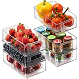 Set Of 6 Refrigerator Organizer Bins - Stackable Fridge Organizers with Cutout Handles for Freezer, Kitchen, Countertops, Cab