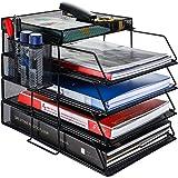 書類トレー メッシュメタル 4段レタートレイ 卓上収納ラック ファイルラック 新聞/雑誌/A4ファイル/フォルダー/書類入れ 整理整頓 (ブラック)