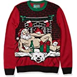 Christmas Ugly Sweater Co Mens SYP6-5191BAMZ Romantic Santa Light-up Sweater Long Sleeve Pullover Sweater - red
