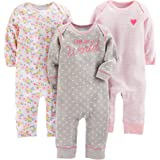 Simple Joys by Carter's Baby Girls' 3-Pack Jumpsuits, Gray, Pink Stripe, Floral