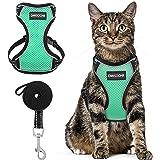 Cat Harness and Leash Set - Escape Proof Safe Cat Vest Harness for Walking Outdoor - Reflective Adjustable Soft Mesh Breathab