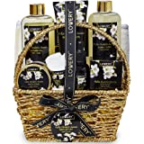 Bath and Body Gift Basket for Women - Orchid and Jasmine Home Spa Set With Body Scrubs, Oils, Gels and More - 9 Piece Set