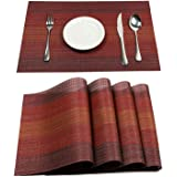 PAUWER Placemats Set of 6 Heat Insulation Stain Resistant Placemat for Dining Table Durable Crossweave Woven Vinyl Kitchen Ta