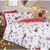 Sleepdown Santa Duvet Cover Set Christmas Fun with Santa - Premium Polycotton Duvet Cover Set with Santa Sleigh & Snowy Red B