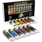 Acrylic Paint Set - Artist Quality Paints for Painting Canvas, Wood, Clay, Fabric, Nail Art, Ceramic & Crafts - 12 x 12ml Hea