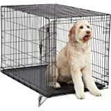 XL Dog Crate | Midwest ICrate Folding Metal Dog Crate w/Divider Panel, Floor Protecting Feet & Leak Proof Dog Tray | 48L x 30