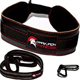 Dark Iron Fitness Leather Weight Lifting Dip Belt with Chain for Dips and Pull Ups