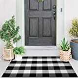 Cotton Buffalo Check Rug   27.5 x 43 Inches   Buffalo Plaid Rug Washable Hand-Woven Outdoor Rugs for Layered Door Mats Porch/
