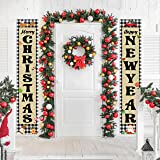 WATINC 2pcs Christmas Outdoor Banner, Merry Christmas and Happy New Year Porch Sign with Rope, Hanging Decorations with Santa