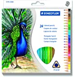 (1, 24 Colour) - Staedtler Mars Easy Grip Triangular Barrel Pre Shaped 2.9 mm Coloured Pencils Art Set, Soft Blendable Texture Perfect for Adult Colouring Books, Amateur or Professional Use, Assorted 24 Colours