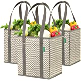 Reusable Grocery Shopping Box Bags (3 Pack - Chevron). Stylish, Premium Quality, Heavy Duty Tote Set with Extra Long Handles