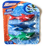 Funstuff 3pc Dive Sharks Pool Toy | Shark Pool Toys | Underwater Torpedo | Great Watertoy for Kids