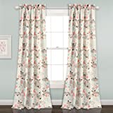 "Lush Decor 16T001678 Pixie Fox Room Darkening Window Curtain Panel Pair, 84"" x 52"", Gray & Pink"