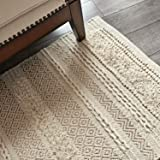 MOTINI Tufted Cotton Area Rug 2' x 3', Hand Woven Knotted Boho Small Shag Rug, Cozy Beige Ivory with Gold Thread Accent Throw