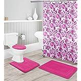 Kids Zone Home Linen Hot Pink 16pc Bathroom Accessory Set - Non-Slip Bath Mat, Non-Slip Contour Mat, Toilet Lid Cover and Wat