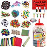 Kraftic All in One Jumbo Craft Bucket Kit, DIY Arts and Crafts Supplies Jar Accessories Center for Toddler Kids Girls and Boy