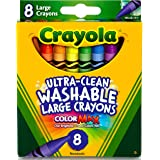 CRAYOLA CYO523280 Ultra-Clean Washable Large Crayons, 8 Classic Colours, Highly Washable, Large in Size, Bold Colours, Perfec