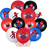 PANTIDE 50 Packs Spider Superhero Birthday Balloons, 12Inch Blue Red Black Latex Balloons Bouquet with Ribbons, Superhero Par