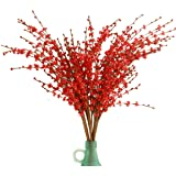 """(10 PCS red) - Misswarm 10 Pieces 29.5"""" Long of Jasmine Artificial Flower Artificial Flowers Fake Flower for Wedding Home Off"""