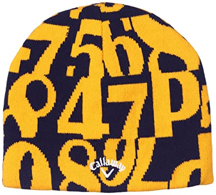 ac40f9e3a9e6f7 Amazon | (キャロウェイアパレル)CALLAWAY APPAREL ナンバー柄ニットキャップ 241-5284647 060 イエロー FR  | 帽子 通販