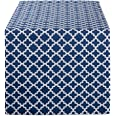 DII Lattice Cotton Table Runner for Dining Room, Foyer Table, Spring Parties and Everyday Use - 14x108, Nautical Blue, 14x108
