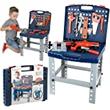 MegaToyBrand Workbench Kids Tool Set Top Quality Workshop Toy w/ 12 Realistic Hanging Tools & Electric Drill For Educational