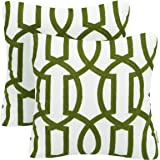 (Pack of 2-Color 4) - Pack of 2 Mika Home Embroidery Geometric Links Accent Decorative Throw Pillow Cover Sofa Cushion Case f