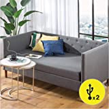 Zinus Shalini Upholstered Daybed with USB and Cover