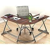 SHW L-Shape Corner Desk Computer Gaming Desk Table, Walnut
