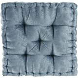 "Intelligent Design Poly Chenille Square Floor Pillow Cushion, ID31-1526, Chenille, Aqua, 20""x20""x5"""