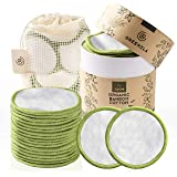 Greenzla Reusable Makeup Remover Pads (18 Pack) With Washable Laundry Bag And Round Box for Storage   Zero Waste Reusable Cot
