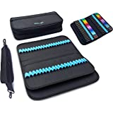 Marker & Pen Carrying Case -120 Slots, Canvas, Extra Pockets, Trolley Sleeve, Removable Shoulder Strap, for Most Markers (up