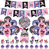 101 Pcs Kuromi Party Decorations, Cute My Melody Theme Birthday Supplies for Kids Child Kuromi Happy Birthday Banner Balloon
