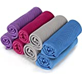"""8Packs Cooling Towel (40""""x 12""""), Ice Towel, Microfiber Towel, Soft Breathable Chilly Towel Stay Cool for Yoga, Sport, Gym, Wo"""