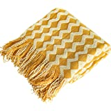 NTBAY Acrylic Knitted Throw Blanket, Lightweight and Soft Cozy Decorative Woven Blanket with Tassels for Travel, Couch, Bed,